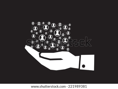 Hand and Network connection - stock vector