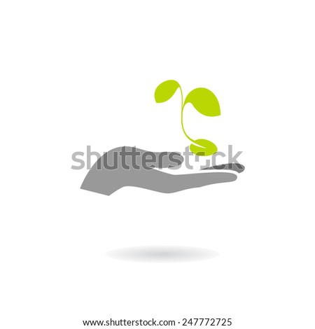 Hand and plant isolated on white background. Vector illustration - stock vector