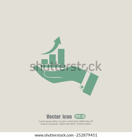 hand and profit vector icon  - stock vector