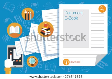 Hand and Tablet with Documents and Icons, Education, School Online, E-Learning, E-Book, Study - stock vector