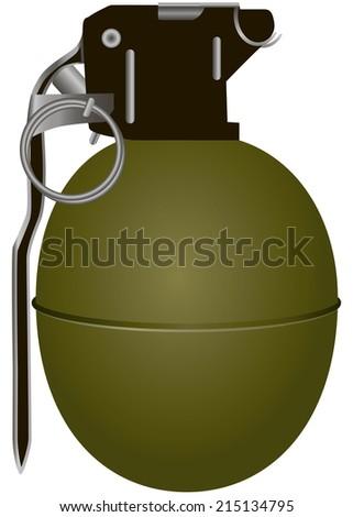Hand antipersonnel grenade in smooth steel shell. Vector illustration. - stock vector