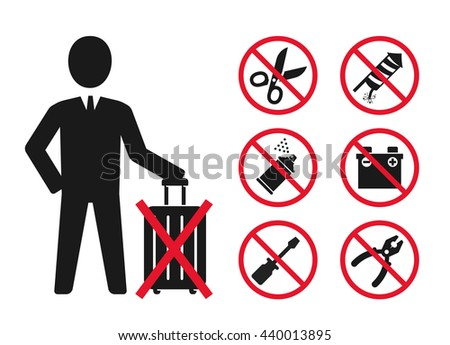 Hand baggage Prohibited Items // Airport Security icons set 2 - stock vector