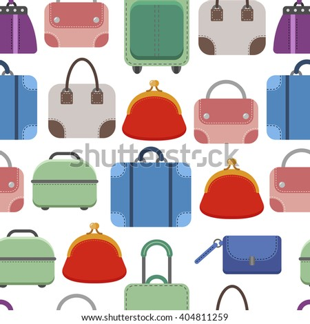 Hand bags. Seamless pattern on white background. Fashionable bags, accessories.