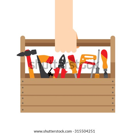 hand box with tools - stock vector