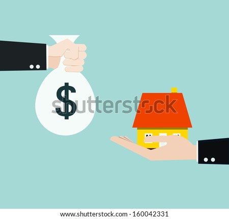 hand bring money for home  - stock vector