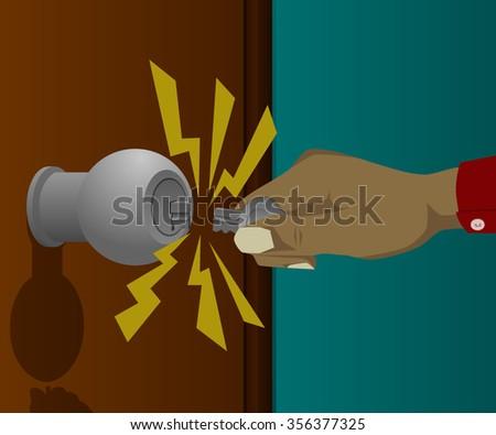 Hand broke the key in the door pedal - stock vector