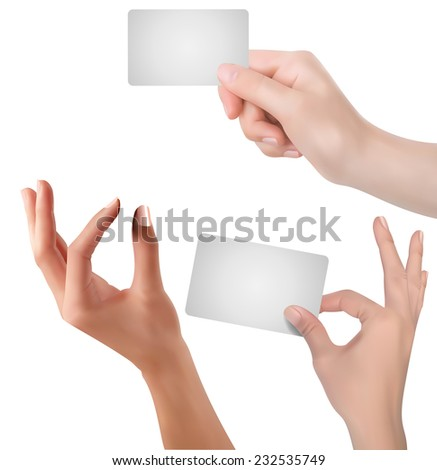 Hand - business cards concept - stock vector