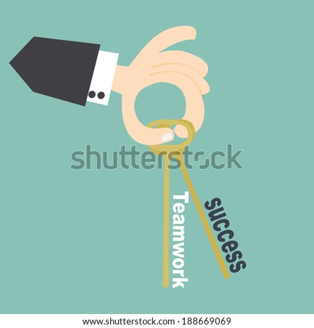 Hand business hold success and teamwork key ,Key business concept - stock vector