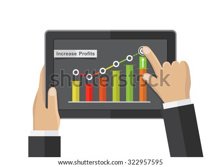 hand business tablet app, commerce growth concept, vector illustration - stock vector