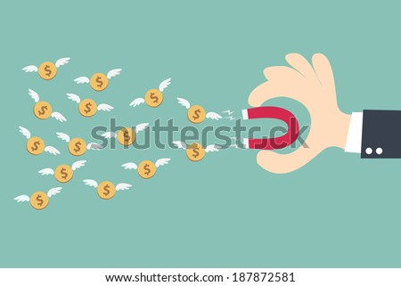Hand businessman holding magnet attracting money wing - stock vector