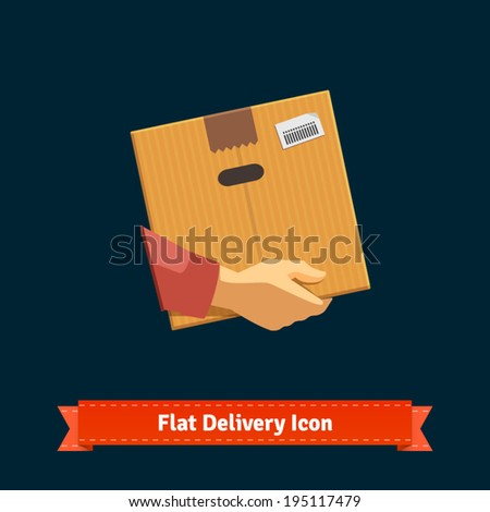 Hand carrying a cardboard box delivery. EPS 10 vector. - stock vector