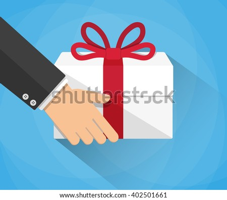Hand carrying a goft box. delivery concept. vector illustration in flat design on blue background with long shadow - stock vector