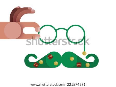 Hand catch glasses and mustache decorated by Christmas concept vector  - stock vector