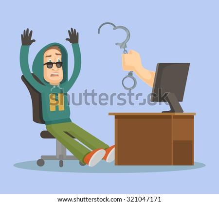 Hand catch hacker. Vector flat illustration - stock vector
