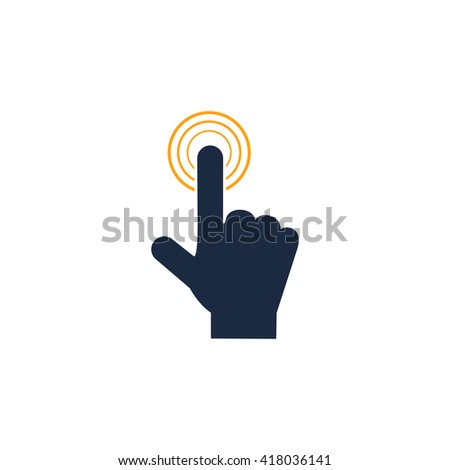 hand click Simple flat vector icon - stock vector