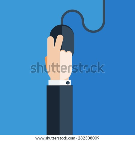 Hand Clicking on Computer Mouse - stock vector