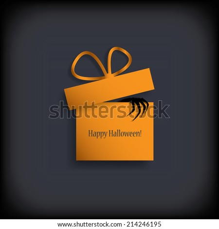 Hand climbing out of Halloween gift box. Eps10 vector illustration. - stock vector