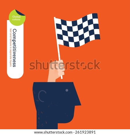 Hand coming out of a head with a race flag. Vector illustration Eps10 file. Global colors. Text and Texture in separate layers. - stock vector