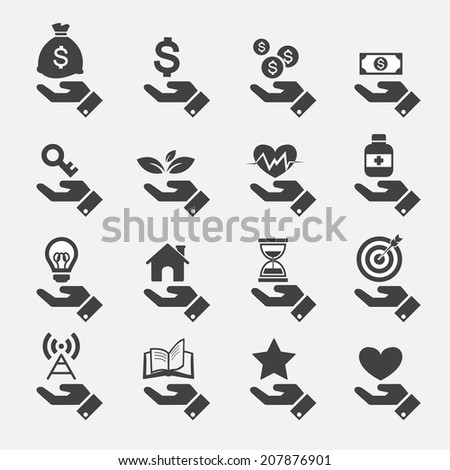 Hand concept icons - stock vector
