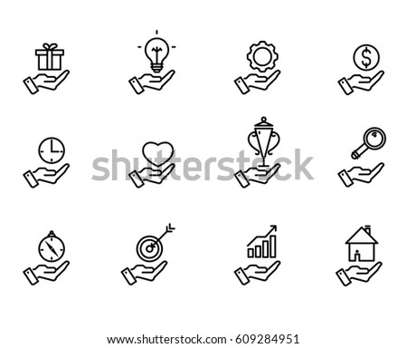 Hand Concept Icons Examples Symbols Business Stock Vector Hd