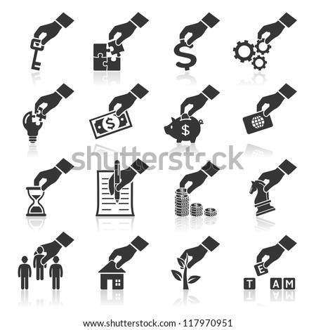 Hand concept icons. vector eps 10. More icons in my portfolio. - stock vector