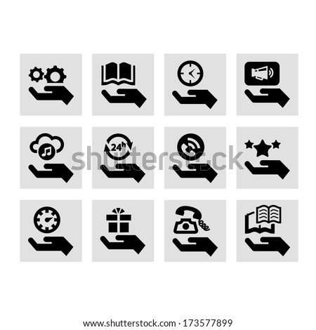 Hand Concept Vector Icons Set. - stock vector