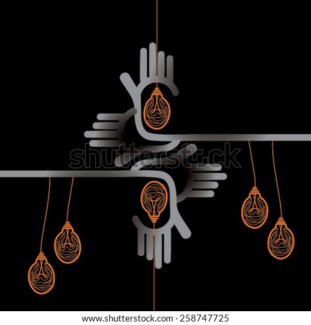 hand connecting with bulb  - stock vector