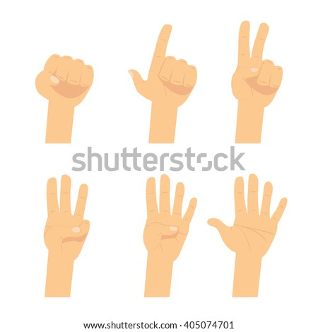 Hand count.  Flat finger and number isolated on white background. Vector set of nonverbal sign - fist, victory, pointing up. One, two, three, four, five hand character.