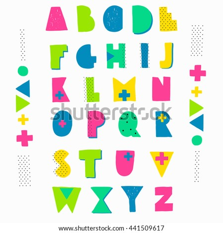 Hand Crafted Alphabet Geometric Shapes Bright Colors Hipster Style Lettering Birthday
