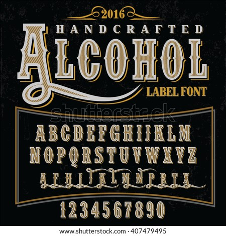 Hand crafted font for alcohol drinks label design, vector illustration, vector font, hand-drawn font, font illustration, label font, font, 2016 font, vintage font, gold font, handcrafted font. - stock vector