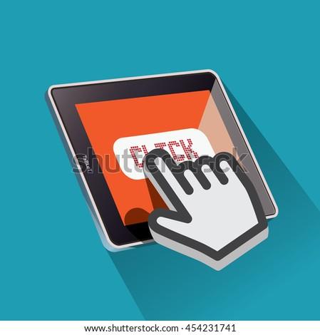 Hand Cursor Click The Tablet. Mobile Concept Vector Illustration. - stock vector