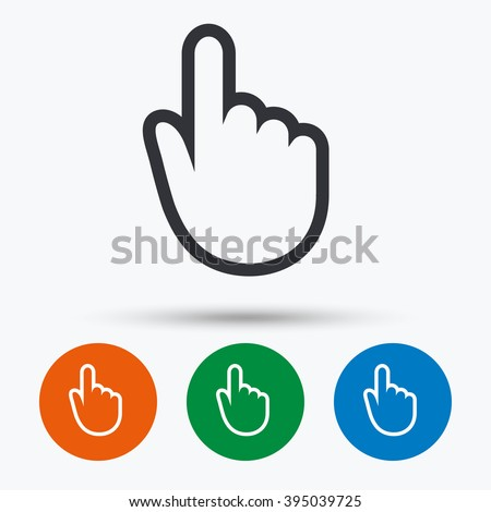 Hand cursor icon. Hand cursor flat symbol. Hand cursor art illustration. Hand cursor flat sign. Hand cursor graphic icon. Flat icons in circles. Round buttons for web.