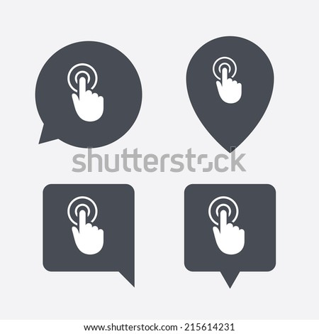 Hand cursor sign icon. Hand pointer symbol. Map pointers information buttons. Speech bubbles with icons. Vector - stock vector