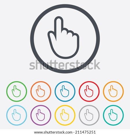 Hand cursor sign icon. Hand pointer symbol. Round circle buttons with frame. Vector
