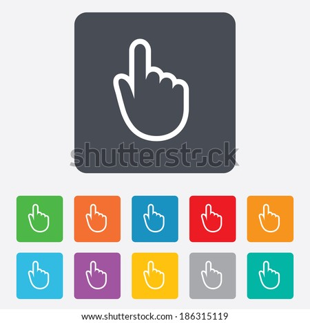 Hand cursor sign icon. Hand pointer symbol. Rounded squares 11 buttons. Vector