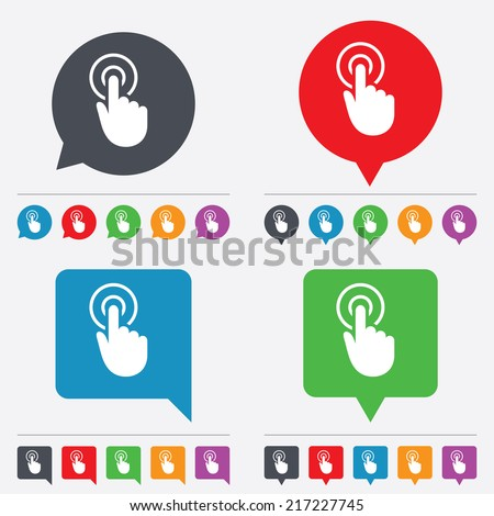 Hand cursor sign icon. Hand pointer symbol. Speech bubbles information icons. 24 colored buttons. Vector - stock vector