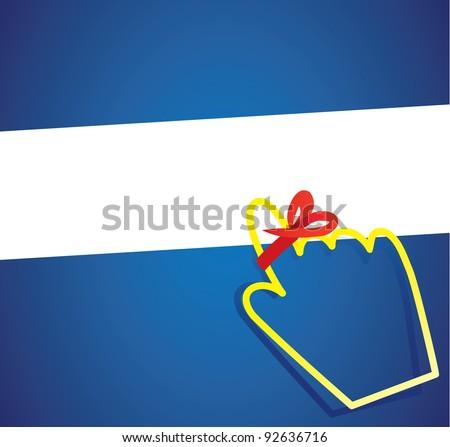 hand cursor with reminder ribbon - stock vector