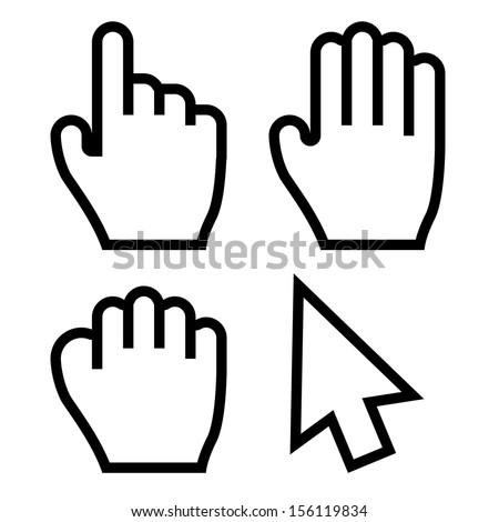 hand cursors vector stock vector 156119834 shutterstock rh shutterstock com mouse hand cursor vector hand cursor vector free download