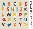 Hand cut vector alphabet sticker set in warm vintage colors. Great for scrap booking, school projects, posters, textiles. See my folio for JPEG version and for more alphabets. - stock vector