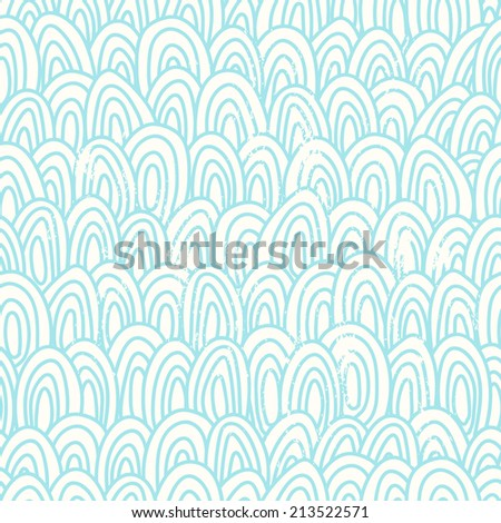 Hand dawn blue scales seamless pattern.Vintage scrapes located on separate layer - stock vector