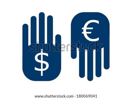 hand dollar up and euro down symbol - stock vector