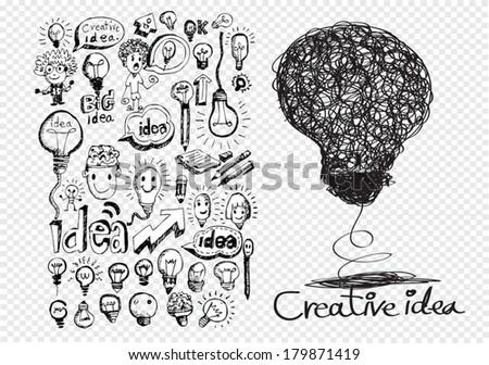 Hand doodle Business icon set idea design on transparent background - stock vector