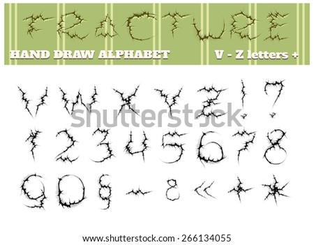 Hand draw alphabet. Fractured letters from v to z and numbers. Isolated on white background. - stock vector