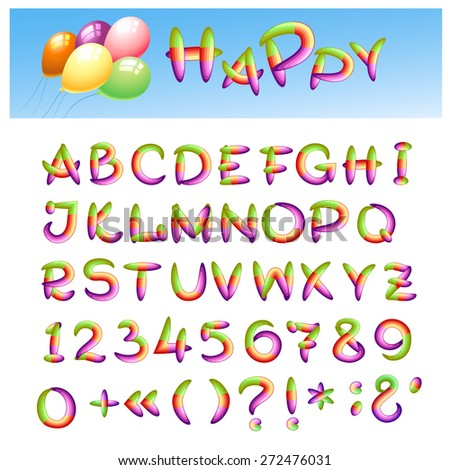 Hand draw alphabet made in kid style. Caps letters, punctuation signs and numbers. - stock vector