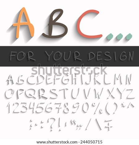 Hand draw alphabet with modern long shadow effect. Fully editable Eps10 vector your design - stock vector