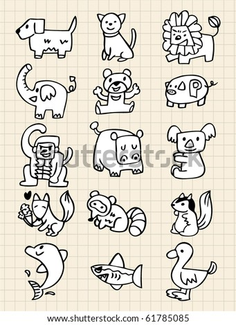 hand draw animals - stock vector
