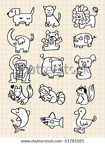 hand draw animals - stock vector
