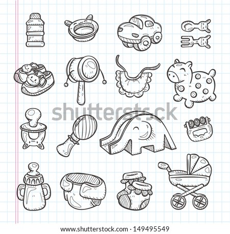 hand draw baby element - stock vector