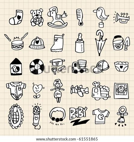 hand draw baby element - stock vector