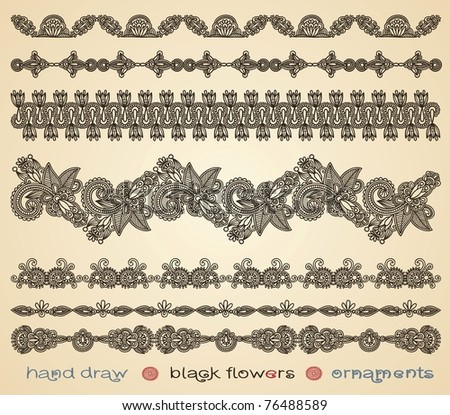 hand draw black flowers ornaments